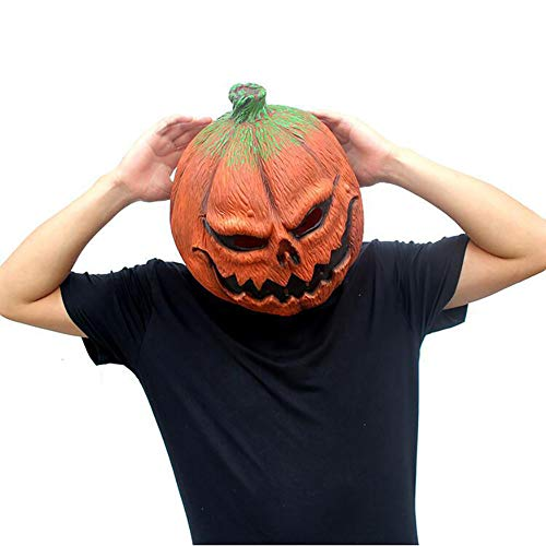 TBGGFSD Halloween-Kürbis-Kopfmaske, lustiges Gesicht, Latex, für Tanz-Partys, Kostüme (Halloween Kürbis-gesicht Film Dem Aus)