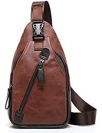 FreeMaster Mochila de hombro para hombre, estilo vintage, piel sintética, se puede llevar sobre el pecho, ideal para hacer senderismo, pequeño tamaño, moderna, Brown A, 12.6L x 5.9W x 2H inch (32 x 15 x 5cm)