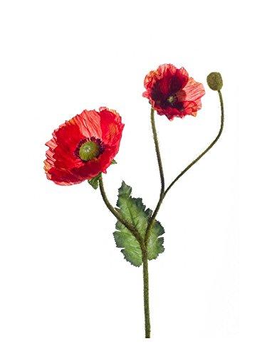 artplants Künstliche Mohnblume mit 2 Blüten, 1 Knospe, orange, 70 cm – Kunstblume
