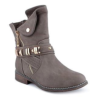 Damen Stiefeletten Stiefel Schnalle Reißverschluss Blockabsatz Schlupf Biker Boots Schuhe Taup EU 38