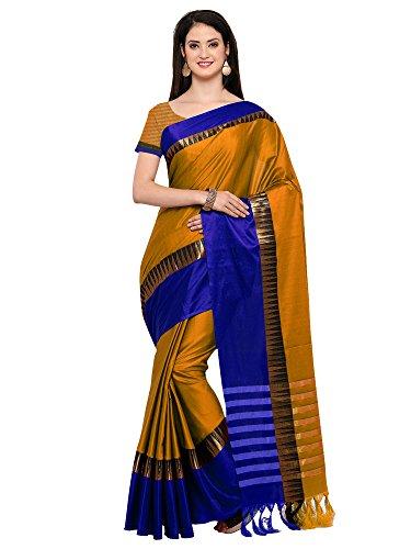 Mrinalika Fashion Women's Cotton Silk Saree with Blouse Piece (Kvs131A, Yellow, Free Size)