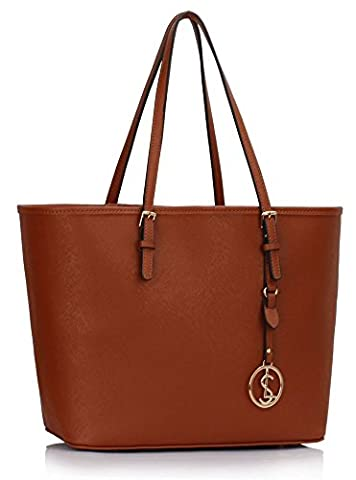 Ladies Fashion Desinger Quality Shopper Bags Women's Trendy Hotselling Handbags Large Size Bag CWS00297 (Brown)