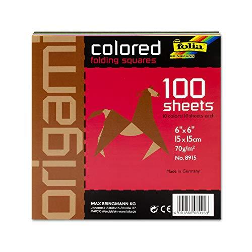 folia 8915 - Faltblätter eckig, 15 x 15 cm, 70 g/qm, 100 Blatt sortiert in 10 intensiven Farben - ideal zum Papierfalten und für andere kreative Bastelarbeiten