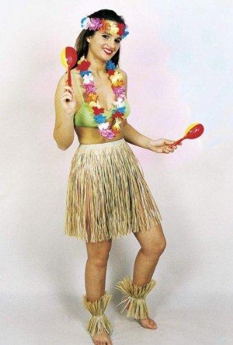 Kostüm Natur Karneval - Orlob Hawaii Bastrock mit Gummi 50cm zum Kostüm Karneval Fasching natur