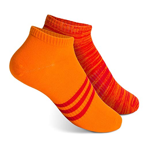 Vkele Sneaker Socken Herren Rot Orange Größe 39-42 Gr. 39 40 41 42 Männer Füßlinge Kurze Sneakersocken Sommersocken Füsslinge Baumwolle Sneakers Kurz Halbsocken Herrensocken -