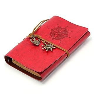 Leder Schreiben Journal Notebook, anggo Vintage Nachfüllbares Notizbuch Leder Bound Tägliche Notizblock, Vintage Notebook mit PU Bezug Classic Travel Diary Einband style2--red