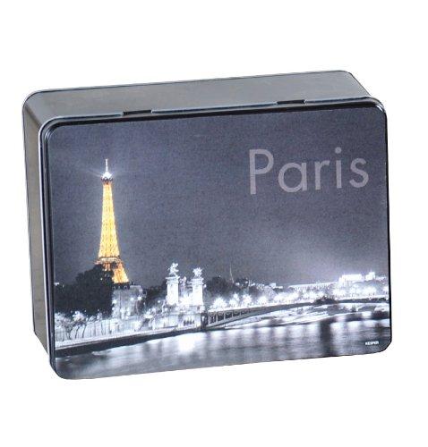Kesper 38219 Aufbewahrungsdose, Metall, Motiv - Paris, Maße - 20 x 16 x 8.5 cm