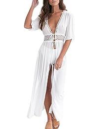 HaiDean Vestidos Mujer Verano Largos Vintage Elegantes Modernas Casual Manga Corta V Cuello Gasa Encaje Alto Cintura Playa Vestido Largo…
