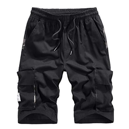 Herren Cargo Shorts Pants Bermuda Cargo Kurze Hose Vintage Short Pure Color Shorts Casual 3/4 Shorts (Black -2, M)