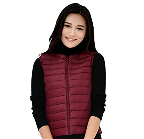 Fouriding Women's Ultra LightWeight Packable Round Collar Down Puffer Jacket Coat Vest Sleeveless Outwear Vest for Women Ladies