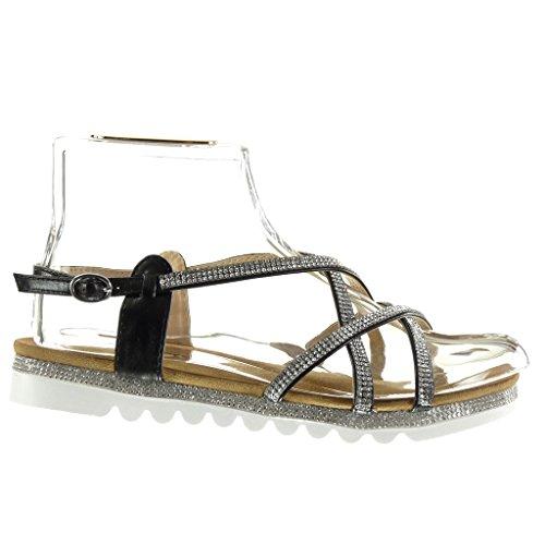 Angkorly - Scarpe Moda sandali suola di sneaker donna multi-briglia strass fibbia Tacco tacco piatto 2.5 CM Nero