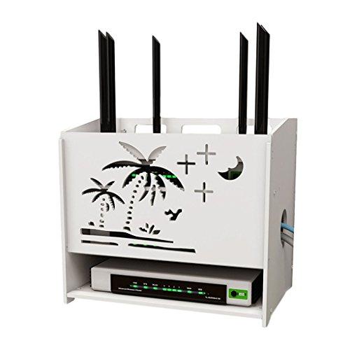 Scatola di immagazzinaggio del router di wifi - ripiano della mensola del set-top, scatola di immagazzinaggio presa a muro di perforazione della parete di perforazione libera della staffa