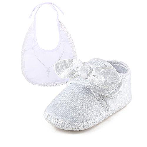 DELEBAO Babyschuhe Weiß Taufschuhe Baby Jungen Mädchen Weiche Sohle Hausschuhe Lauflernschuhe (Schuhe-3&Lätzchen1,0-6 Monate)