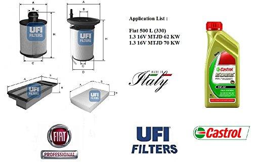 Preisvergleich Produktbild UFI Filter Fiat 500 L 1.3 16 V MTJD 62 - 70 kW + 4 Liter Motoröl Castrol EDGE 5 W30
