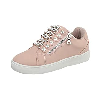 Ital-Design Sneakers Low Damen-Schuhe Reißverschluss Freizeitschuhe Altrosa, Gr 37, 88037-