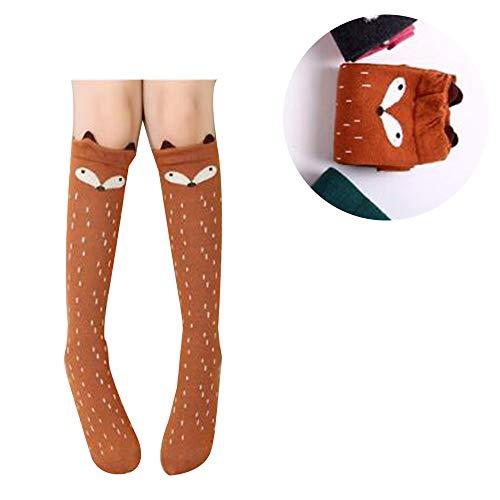 TIMLand Mädchen Kniehohe Socken, Winter Weiche Warme Baumwollstricksocken Über Kalb Knie Tier Cartoon Gemustert für Kinder Kaffee Fox - 3-12 Years Old -