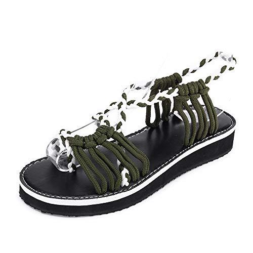Zilosconcy Damenschuhe Damen-Kreuzgurte geflochtenes Seil gewebte Sandalen römische Schuhe Strandschuhe Army Green Frauen Flip Flops Sandalen Sommer Woven Strap Mode Strand Hausschuhe Retro-slingbacks Peep-toe-heels