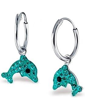 GH1a Türkis Kristall Delfin Creolen Ohrringe 925 Echt Silber Mädchen Damen Ohrhänger Delphin