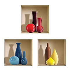 Idea Regalo - The Nisha Art Adesivi 3D Magici da Muro in Vinile Sticker Decalcomania Fai-da-Te, Set da 3, vasi colorati