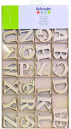 Artemio Set di Lettere dell'alfabeto, in Legno, 6 cm, 130 pz, Beige