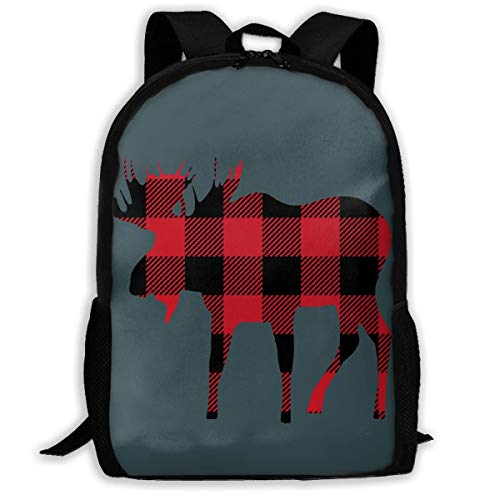 990e451d8018 3D Printing Adult Shoulder Bag Buffalo Plaid Moose Lumberjack Red Black  School Backpack Bag ily Bag