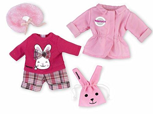 Nenuco - Pack de ropita Deluxe para muñecas Nenuco de 35 cm, jersey, pantalón, abrigo y bolsito (Famosa 700013823)