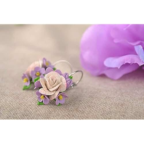 figuras kawaii porcelana fria Pendientes artesanales con flores accesorio para mujer regalo original