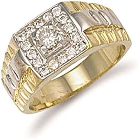 Hallmarked 9ct oro amarillo Zirconia cúbico anillo tapa cuadrada de caballero