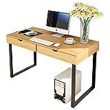 EisEyen Schreibtisch, Kinderschreibtisch,Computertisch Moderner minimalistischer Tisch mit 2 Schubladen 2 eingebaute Ablagefächer Stabile Metallbeine für Arbeitszimmer(100x48cm)