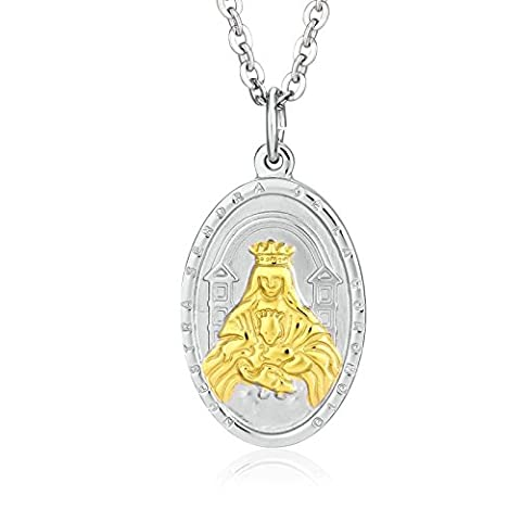 Epinki Womens Stainless Steel Virgin Mary With Baby Jesus Silver Gold Pendant Necklace