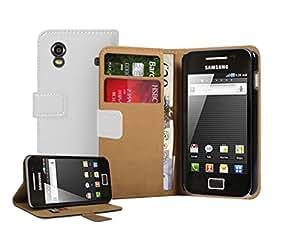 Membrane - Weiß Brieftasche Leder Tasche Hülle Samsung Galaxy Ace (GT-S5830 / S5839i / S5831i) - Flip Case Cover