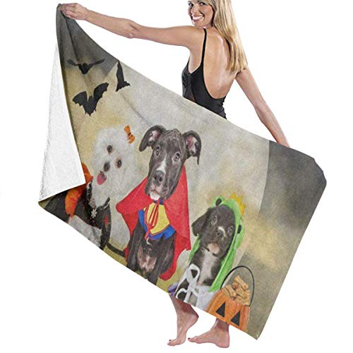 Serviette de bain, Hipster Puppy Dog Dressed in Halloween Costumes Personalized Custom Women Men Quick Dry Lightweight Beach & Bath Blanket Great for Beach Trips, Pool, Swimming and Camping 31