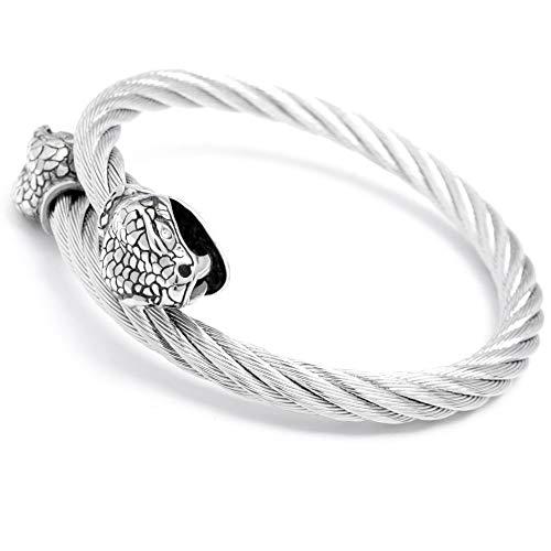 Edelstahl Armreif Herren Armband Schlange Totenkopf Skull Tiker Bikerschmuck Geschenk Stahlseil flexibel hochwertig (Schlange) ()