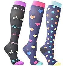 Calcetines de compresión para mujeres y hombres de 3/6 pares, mejor ajuste graduado