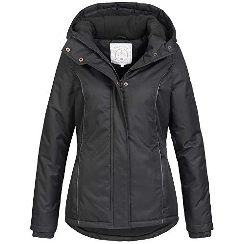 Azuonda Damen Winter Jacke Parka Winterjacke warm gefüttert wasserabweisend Kapuze Az100 XS-XXL 2-Farben, Größe:S, Farbe:Schwarz