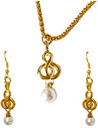 Surat Diamonds Trendy Shell Pearl & Gold Plated Pendant With Chain & Earring Set For Women (SDS267)