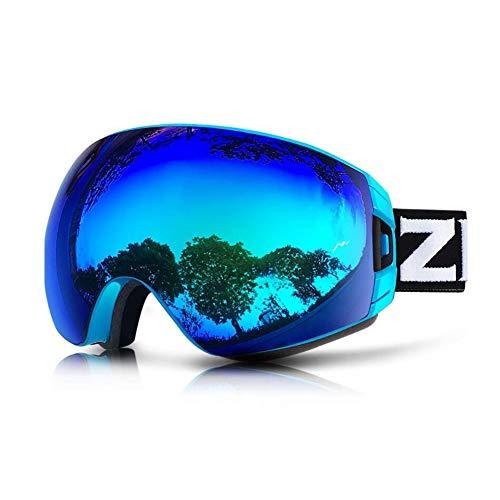 He-yanjing Skibrille, Anti-Fog UV-Schutz, Überbrille Ski/Snowboard Brille für Männer, Frauen und Jugendliche (Farbe : Blau) (Snowboard-brillen Blaue)