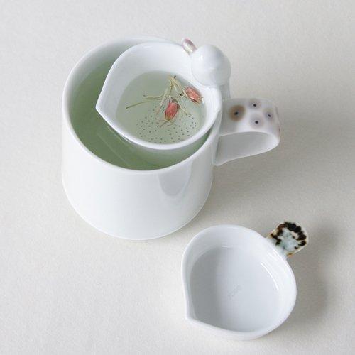 Set de Porcelaine Blanche Passoire Tasse Thé Collection INFUSEUR+SOUCOUPE+MUG