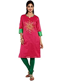 Aaboli Chanderi Straight Long Kurta For Women