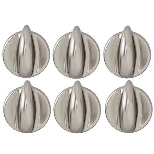 spares2go Einstellknopf für Candy Ofen & Herd (Silber/Chrom, 1,2,3,4,5oder 6Stück) Pack Quantity: 6