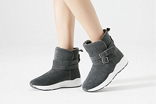 Scarpe da donna, stivali da donna, stivali da neve, tubi corti, suole spesse, scarpe di cotone, scarpe sportive gray