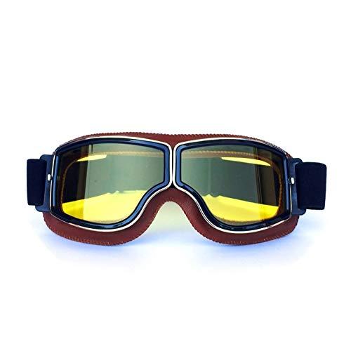 Adisaer Sportbrille Indoor Retro Helm Schutzbrillen Lokomotive Offroad Motorrad Schutzbrillen Retro Schutzbrillen Gläser Reiten Orange Yellow Damen Herren