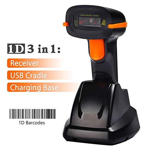 Tera Lettore Codice a Barre (Cavo Wireless 2.4Ghz + USB 2.0) Barcode Scanner Wireless 32 Bit con Base Ricaricabile