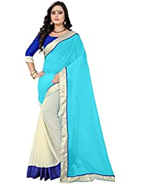 TRYme Fashion Women's Georgette Saree With Blouse Piece (TRM284_Sky Blue)