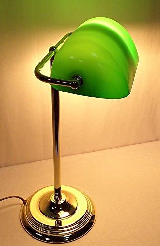Elegante Art Deko Banker Lampe, Bankerslampe, Messing, grüner Glasschirm