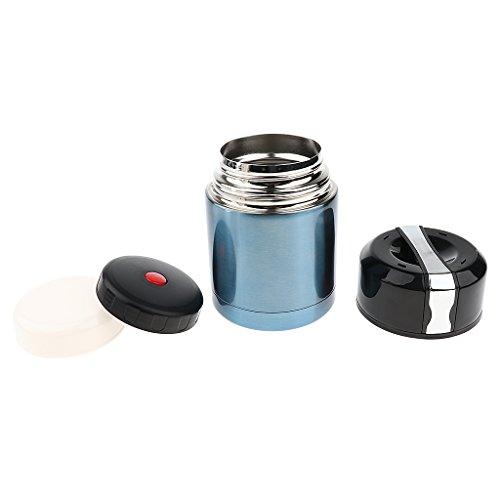 Baoblaze Reise Vakuum Isolierbehälter, Edelstahl Lebensmittel Aufbewahrungsdose - 800ml Kapazität - Blau (Vakuumdichtungs-deckel)