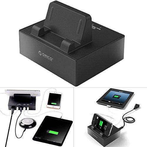 Alienwork Caricabatterie per universal USB 4-ports 30W 5V 6A alimentazione elettrica Charger Power compatibile per Apple e Android Devices Supporto Plastica nero UB.DPC-4US-BK