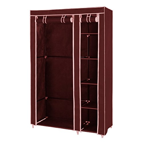 Fancy and Portable Foldable Closet Wardrobe Cabinet Portable Multipurpose Clothes Closet Portable Wardrobe Storage Organizer with Shelves 3.5 Feet Folding Wardrobe Cupboard Almirah Foldable Storage Rack Collapsible Cabinet (Maroon) (Need to Be Assembled)  available at amazon for Rs.1795