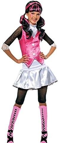 Fancy Ole - Mädchen Girl Kostüm Monster High Draculaura mit Top, Rock und Leggings, 134/140, Weiß-rosa-schwarz