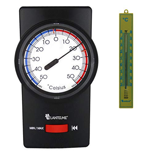 Lantelme 6674 Set Bimetall Min Max Thermometer und Innenthermometer Analog - Für Innen und Garten - Außenbereich